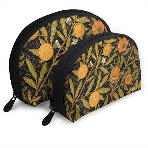 Fruit ~ William Morris ~ Citrus On Black 2pcs/pack Toiletry bag Travel Carry On Airport Travel Shell Makeup Storage Bag Toiletry Organizer For Women