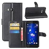 HualuBro Custodia HTC U11 Eyes, Custodia in Pelle PU Leather Portafoglio Wallet Protettiva Flip Case Cover per HTC U11 Eyes Smartphone (Nero)