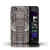 Kobalt Elefante Nero Bianco stampato Custodia Cover per Blackberry Z10 cellulari telefoni / Collezione Aztec Animal Design