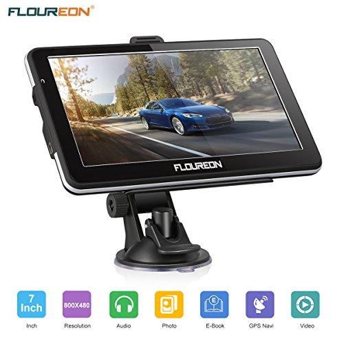 GPS de Coches, FLOUREON Navigation de 7 Pulgadas Pantalla LCD capacitiva Sat Nav Navigator para camión y automóvil con actualizaciones de mapas de por Vida (Negro)