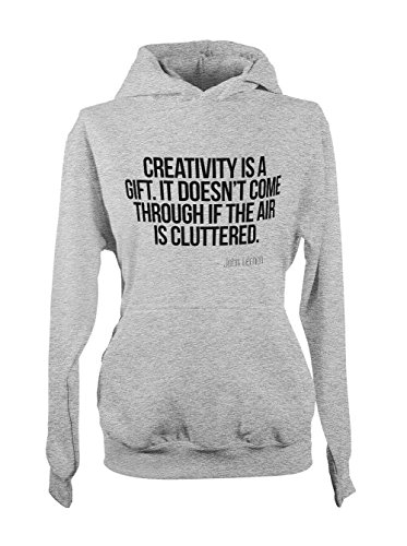 Creativity Is A Gift John Lennon Citation Femme Capuche Sweatshirt Gris