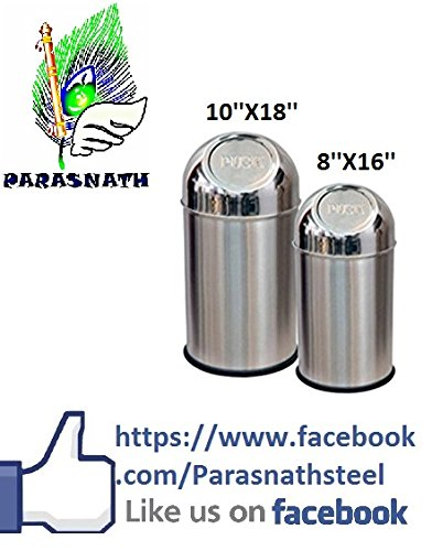 "Parasnath Stainless Steel Push Can Dustbin/ Stainless Steel Garbage Bin/ Medium and Large / - 13 Litre (8""x16"") + 23 Litre (10'' X18'')- Set of 2 Pcs"