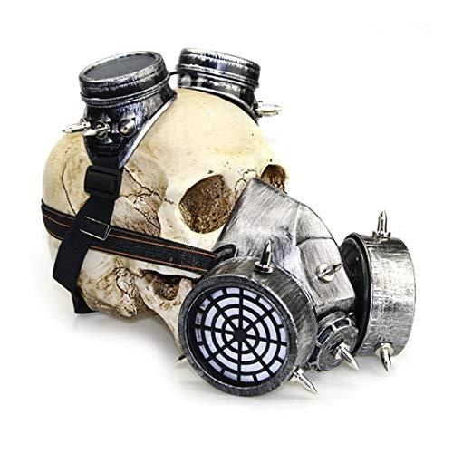 FENXIMEI Biohazard Steampunk Gasmaske Schutzbrille Spikes Skeleton Warrior Totenmaske Maskerade Cosplay Halloween Kostüm Requisiten Scary Mask (Farbe : - Scary Kostüm Mit Gasmasken