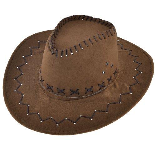 sourcingmap® Mann Jagd verstellbaren Kinnriemen Veloursleder Cowboyhut ()