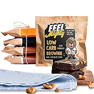 Feel Mighty Gluten-free Low Carb Brownies Assorted Box 2 Contains 2 Dark Chocolate Fudge, 2 Chocolate Walnut and 1 Peanut Butter Brownie -Box of 5 Brownies