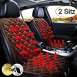 STYLINGCAR Sitzheizung Auto Heizkissen 12V Beheizte Sitzauflage Universal Regulierbare Vordersitz Heizauflage (Kaffee 2 Stück)