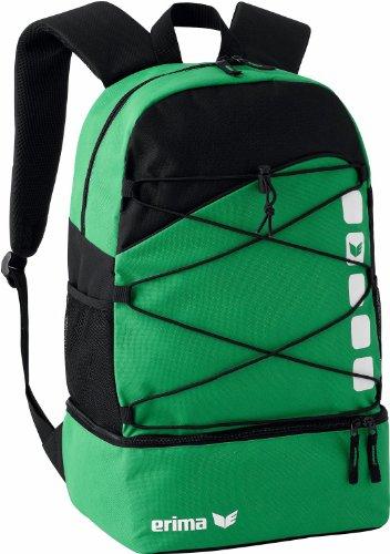 erima Multifunktionsrucksack mit Bodenfach, Smaragd/Schwarz, 48.5 x 36 x 3.5 cm, 16 Liter, 723342