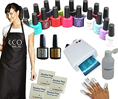 CCO UV NAIL GEL Soak Off Professional Polish coat 36W light Kit Lamp set included 10 Wraps, Top Coat, Base Coat, Cleanser, 10 x Remover Wipes, 4 Colours & Embroidered CCO Apron