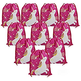 Unicorn Party Bags Birthday Gift Bags 10 Pack Party Ideas for Girls, Drawstring Unicorn Party Supplies Goodie Pouches in Bulk for Party Favours