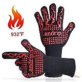 Landrip Grillhandschuhe, 932 ºF Extreme Hitzebeständige BBQ Handschuhe, 1 Paar Ofenhandschuhe Kochenhandschuhe Backhandschuhe Zum Grillen,Kochen,Schweißen,Feuerplatz