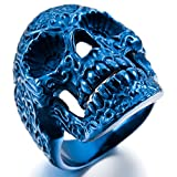 MunkiMix Acero Inoxidable Anillo Ring Azul Cráneo Calavera Flor Flower Talla Tamaño 22 Hombre