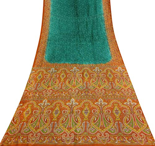 Teal Saree (Vintage Indian Teal Grün Saree Nizza Printed Reine Seide Craft Gebrauchte Stoff Sari)