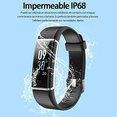 Imagen de homscam pulsera actividad, pulsera inteligente pantalla color reloj impermeable ip68 con monitor de ritmo cardíaco, captura de cámara, notificación de mensajes etc para android y ios teléfono móvil alternativa