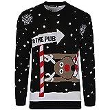 hergestellt von Purl NEU Herren Damen Weihnachts Pullover Rudolph Pom Pom Rentier Weihnachtsmann Elfen Pinguin Retro Vintage Pullover TOP RETRO NEUHEIT Pullover S-3XL
