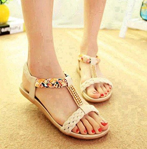 YOUJIA Femmes Bohême Perles Sandales Salomés Peep-Toe Plat Plage Chaussures Tongs Beige