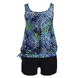 Damen Tankini Große Größen Zweiteilige Bademode Oberteile + Kurz Strandmode Druck Swimming Suit Badeanzug Swimwear Blau 5XL Meedot