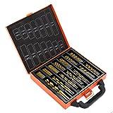 HSS-Stahl Bohrer Satz Bohrer Bit Set 99 teilig Zubehör für Bohrmaschinen mit einen hochwertigen Metall Tragkoffer, Profi-Qualität Orange