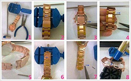 JSDDE Uhren,Luxus Elegangt Damen Armbanduhr mit Strass Glitzer Dial Damenuhr Metall-Band Ladies Dress Analog Quarzuhr (Rosegold) - 6