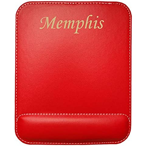 Almohadilla de cuero sintético de ratón personalizado con el texto: Memphis (nombre de pila/apellido/apodo)