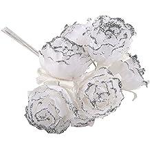Mopec Pack de 12 pomos de 6 Flores/pomo con Purpurina Plateada, Tela, Blanco, 4x8x5 cm.