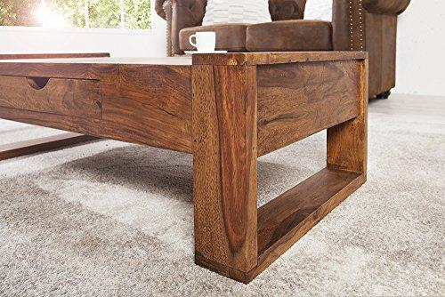 massiver couchtisch markant 100 cm sheesham mit schublade holztisch tisch m. Black Bedroom Furniture Sets. Home Design Ideas