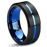 Queenwish Verlobungsring,Schwarze Blaue Gebürstet Wolframcarbid Hochzeitsring,8mm Eheringe Modeschmuck für Damen Herren Größe 9