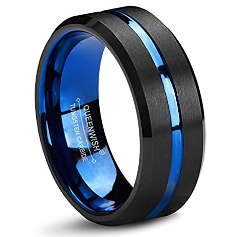 Queenwish 8mm Blue Tungsten Wedding Band Black Brushed Couples Engagement Anniversary Rings Comfort
