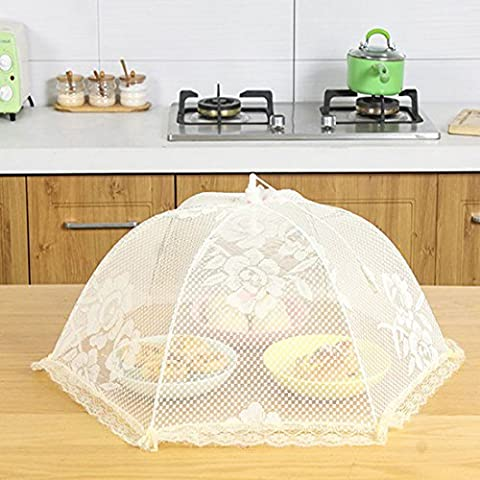 UKGOOD Ultra Large Size 【26 inches 2× PACK】 Kitchen BBQ Table Craft Round Mesh Screen Food Cover Stainless Steel Structure Foldable Collapsible Indoor or Outdoor Durable Lace Mesh Umbrella Domes Food Protector