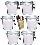 gouveo 6er Set Bügelgläser 500 ml Flach incl. 28-seitige Flaschendiscount-Rezeptbroschüre Einmachgläser Marmeladengläser mit Bügelverschluss