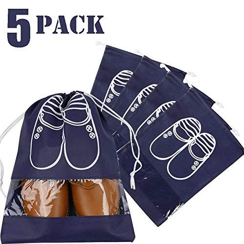 """Schuhtasche Schuhbeutel mit Zugband Wasserabweisend Schmutzabweisender Schuhsack Reise Trennung von Schuhen Kleidung Reisezubehör Shoe Bag Boot Bag (Marineblau, 5 Stück 17""""X12"""" Schuhtasche)"""