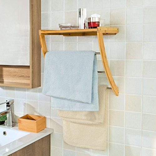 SoBuy® Estanteria de baño de bambù, Estantes de pared, Armario suspendido,FRG47-N(L38*P24.5*A40.5cm),ES
