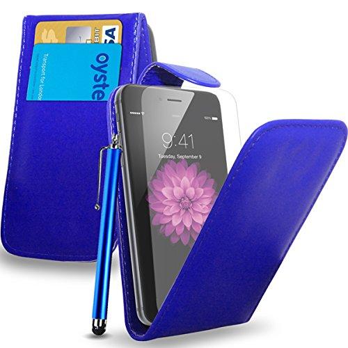 Apple iPhone 6S - Leder-Schlag-Fall-Abdeckungs-Beutel + Touch Stylus Pen + Screen Protector & Poliertuch (weiß) Blue