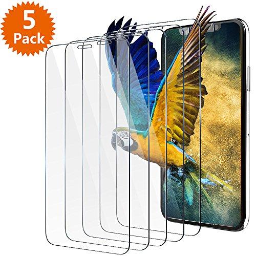 BlingFilm iPhone X Displayschutzfolie, 5 Packungen iPhone X [gehärtetes Glas] Displayschutzfolie für Apple iPhone X 5,8 Zoll/iPhone 10 (2017) [Hülle freundlich]