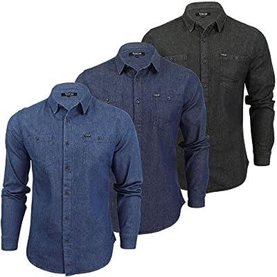 Mens Denim Shirt Firetrap 'Garrick' Western Vintage Wash Long Sleeve