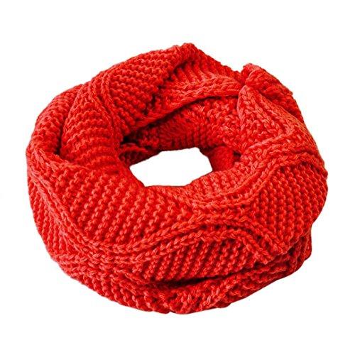Transer ® Femelle Écharpes, Mode Femmes Hommes Keep Warm Knit Cowl Neck Long Écharpe Châle Rouge