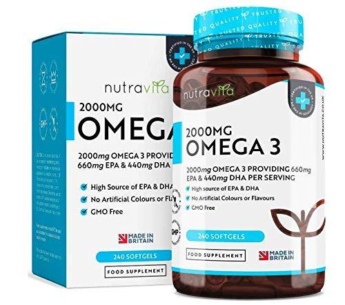 Omega 3 (2000mg) - 660 mg EPA e 440 mg DHA - Capsule di gel morbide all\'olio di pesce puro - Prodotto nel Regno Unito da Nutravita