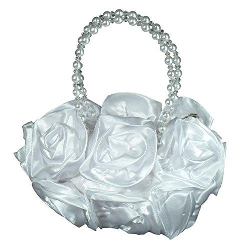 Samtlebe® - Blütenbeutel Kommunionbeutel Tasche für Kommunion und Blumenmädchen FF001 in Weiß
