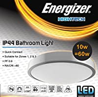 Silver LED Bathroom Flush Ceiling Light Fitting ~ IP44 Rated ~ Zone 1 2 3 by Energizer