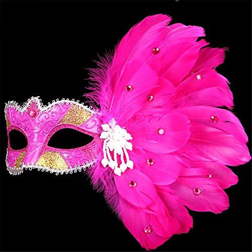 -up Tanz Show Gemalte Federn Halbes Gesicht Spitze Schöne Prinzessin Perle Masken,Rose Red (Red Skull Halloween-make-up)