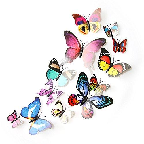 yuiopmo15 PVC 3D Schmetterlinge Wandaufkleber Schmetterling Aufkleber Diy Wanddekoration Wandsticker Schlafzimmer Babyzimmer Decoration Wandtattoo (Mehrfarbig) -
