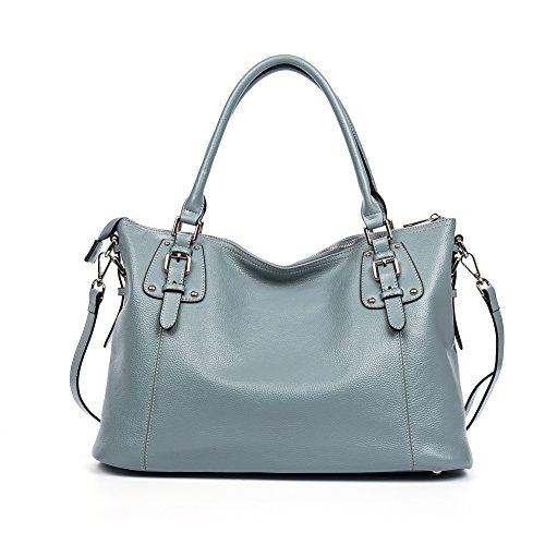 BOSTANTEN Handtaschen Henkeltasche Damen Leder Schultertasche Umhängetasche Frauen Tote Bag Hellblau