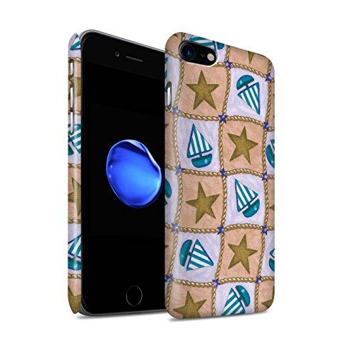 STUFF4 Matte Snap-On Hülle / Case für Apple iPhone 8 / Rot/Grün Muster / Boote und Sterne Kollektion Braun/Blau