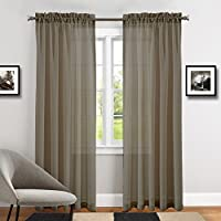 TOPICK Voile Vorhang Mit Stangendurchzug Transparent Gardine Fensterschal  Vorhänge 241 Cm X 140 Cm(H
