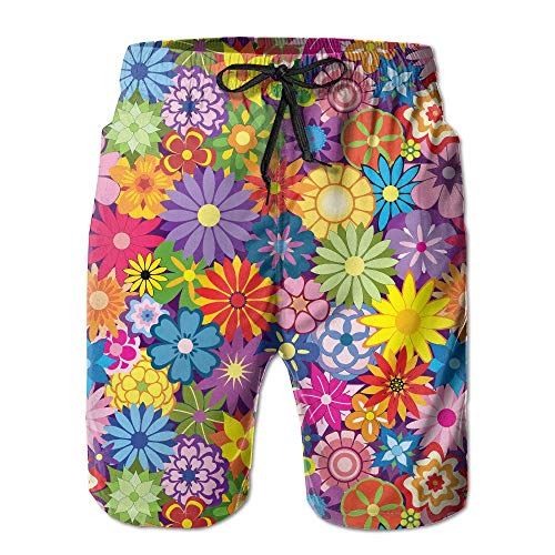 each Printing Pants Flowers Quick-Drying Men's Shorts Hot Swimming Trousers Board Shorts with Pockets Medium ()