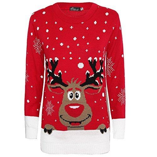Herren Damen Strickpullover 3D Rudolph Rentier Elfe Weihnachten Pullover