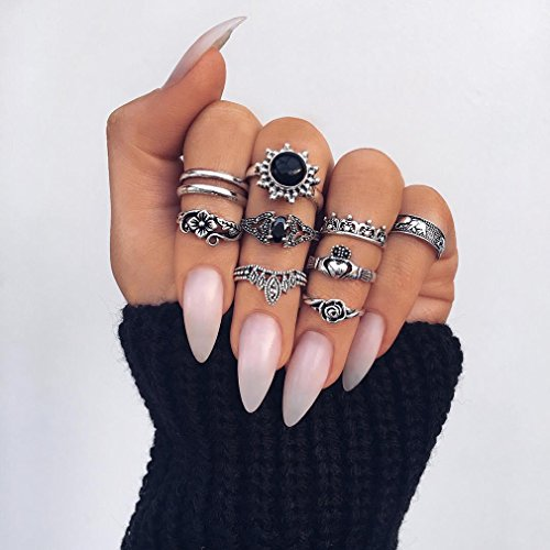 Yesiidor 9pcs Midi Ringe für Damen Fingerring Set Nagel Finger Band Silber