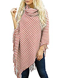 Yvelands ¡Ofertas de liquidación Mujeres Diagonal de Rayas de Cuello Alto con Flecos Capa Suéter Mantón