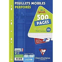 Clairefontaine 11792c - Paquete de folios para carpeta de anillas (500 paginas/250 Hojas, cuadrícula pequeña)