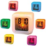 Gooseberry 7 Colour Changing Led Digital Alarm Clock With Date, Time, Temperature For Office Bedroom