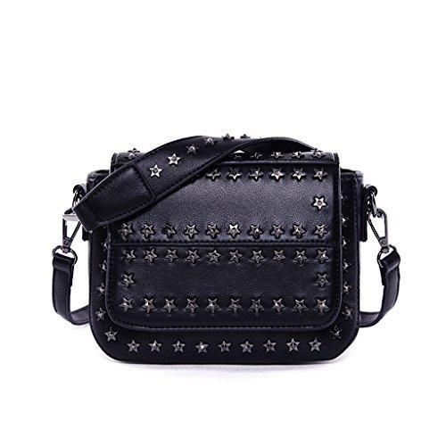 HYLR Punk Stil, Mode, Frauenbeutel Mini Schultertasche Handtasche schwarz